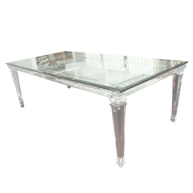 Glass Dining Table For Sale: Lucite Dining Table With Banded Legs And Glass Top For
