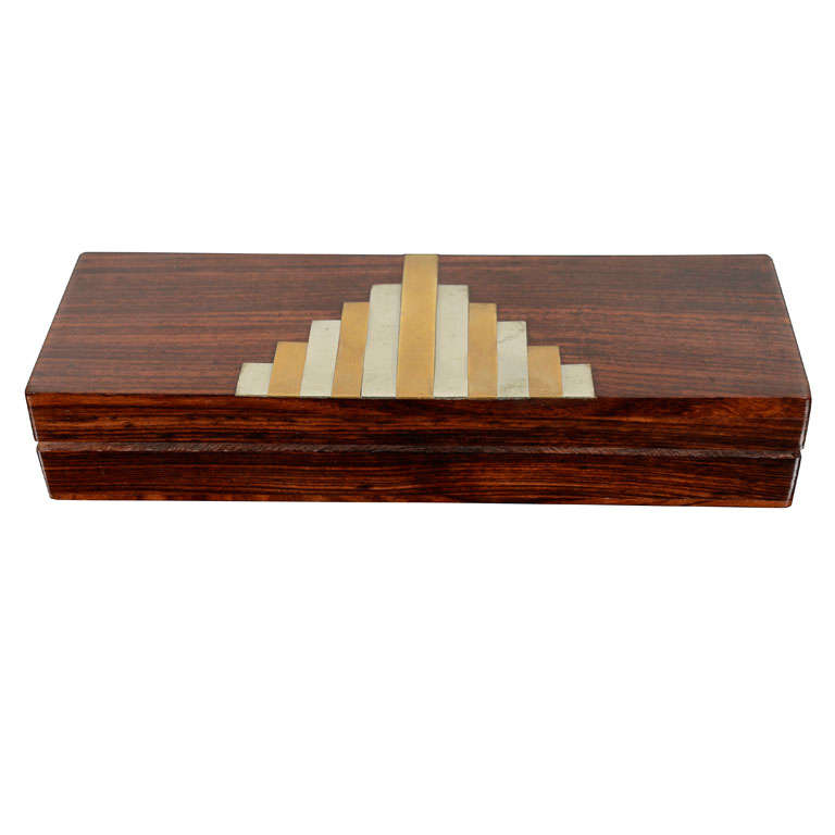 Hinged Wooden Box With Metal Inlay French At 1stdibs
