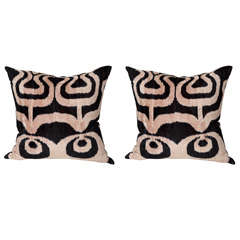 Pair of  velvet square  tan and black Ikat pillow