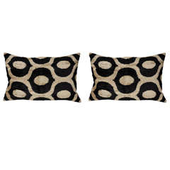 Pair of velvet black and cream Ikat pillow