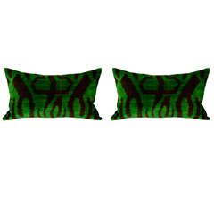 Pair of green and black velvet Ikat pillows