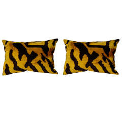 Small gold and black velvet Ikat pillow