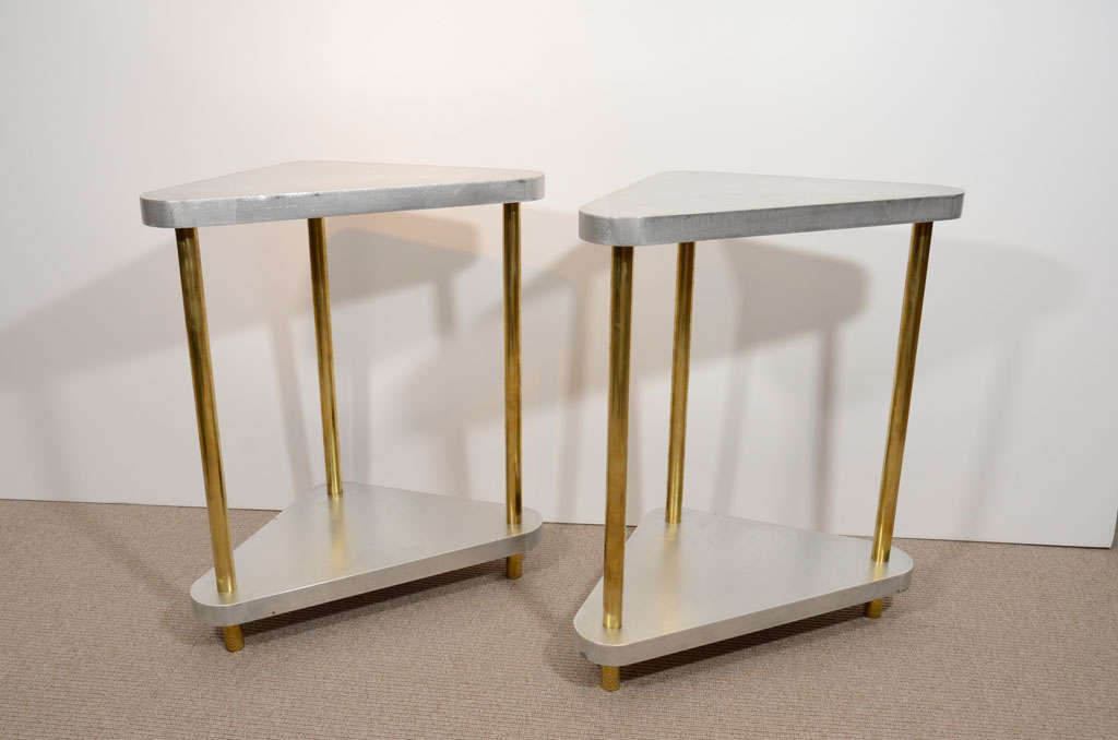 Pair of Midcentury Steel and Brass Side Tables 5
