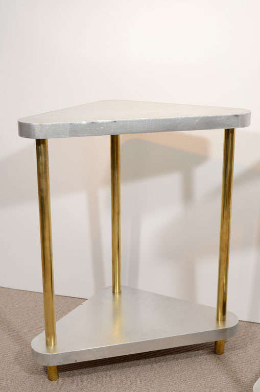 Italian Pair of Midcentury Steel and Brass Side Tables
