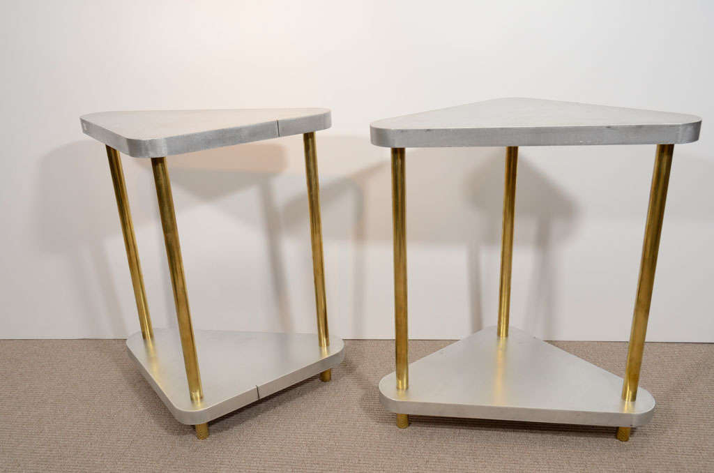 Pair of Midcentury Steel and Brass Side Tables 1