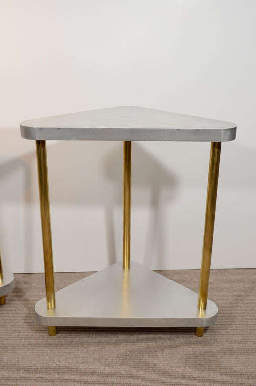 Pair of Midcentury Steel and Brass Side Tables 2
