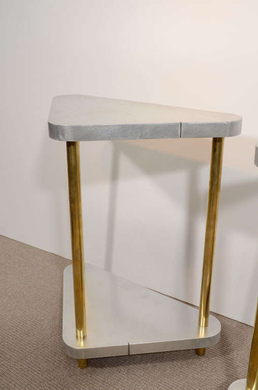 Pair of Midcentury Steel and Brass Side Tables 3