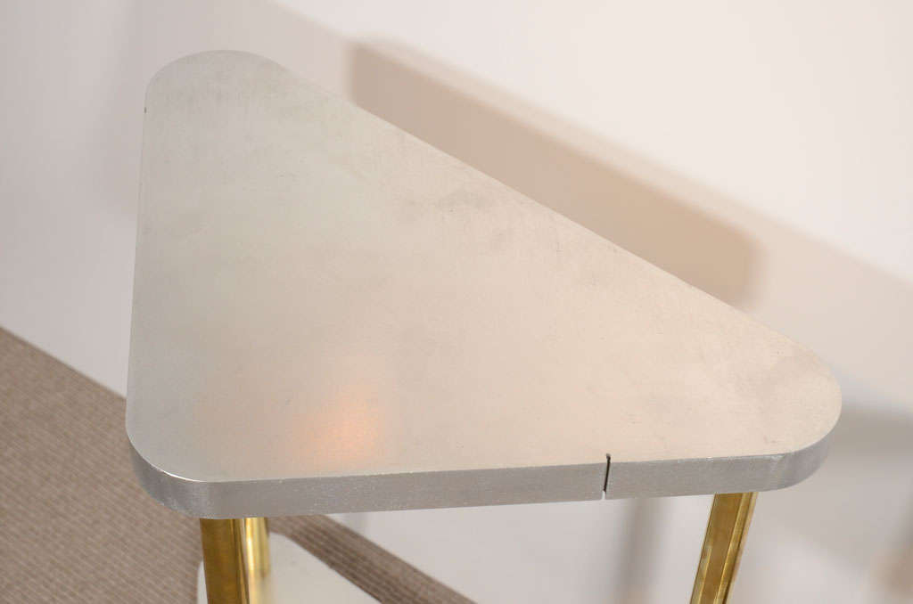 Pair of Midcentury Steel and Brass Side Tables 4