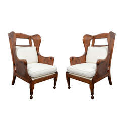 Pair of Wing Back Chairs with Cushions