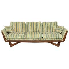 Adrian Pearsall Boomerang Sofa w/ Walnut Trim- Original Striped Upholstery 1960