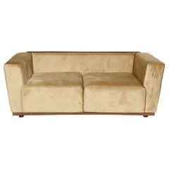 Beautiful Saccaro Velvet Love Seat with Walnut Trim, 21st Century
