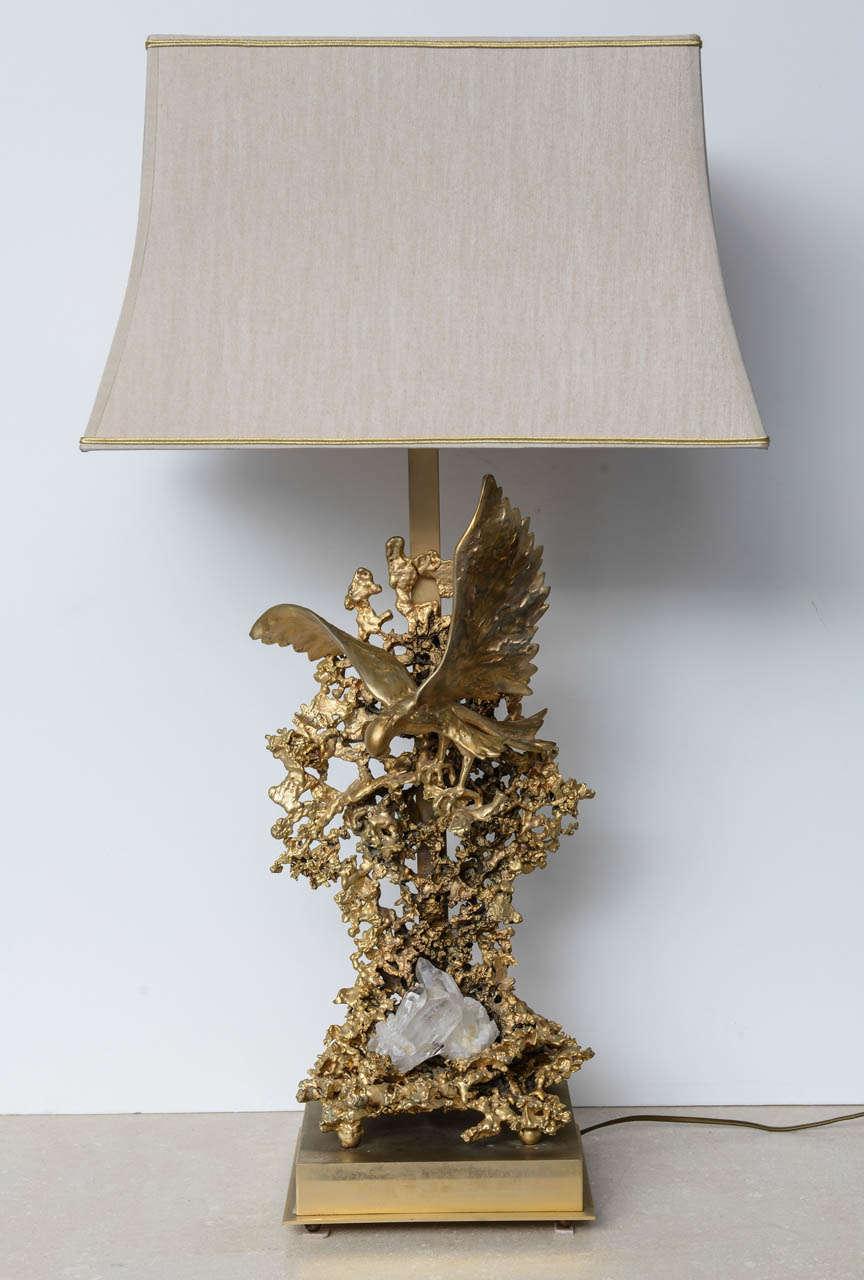 Baroque Claude Victor Boeltz Sculptural Metal Table Lamp and rock cristal inclusion