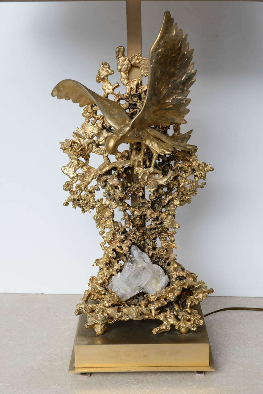 French Claude Victor Boeltz Sculptural Metal Table Lamp and rock cristal inclusion