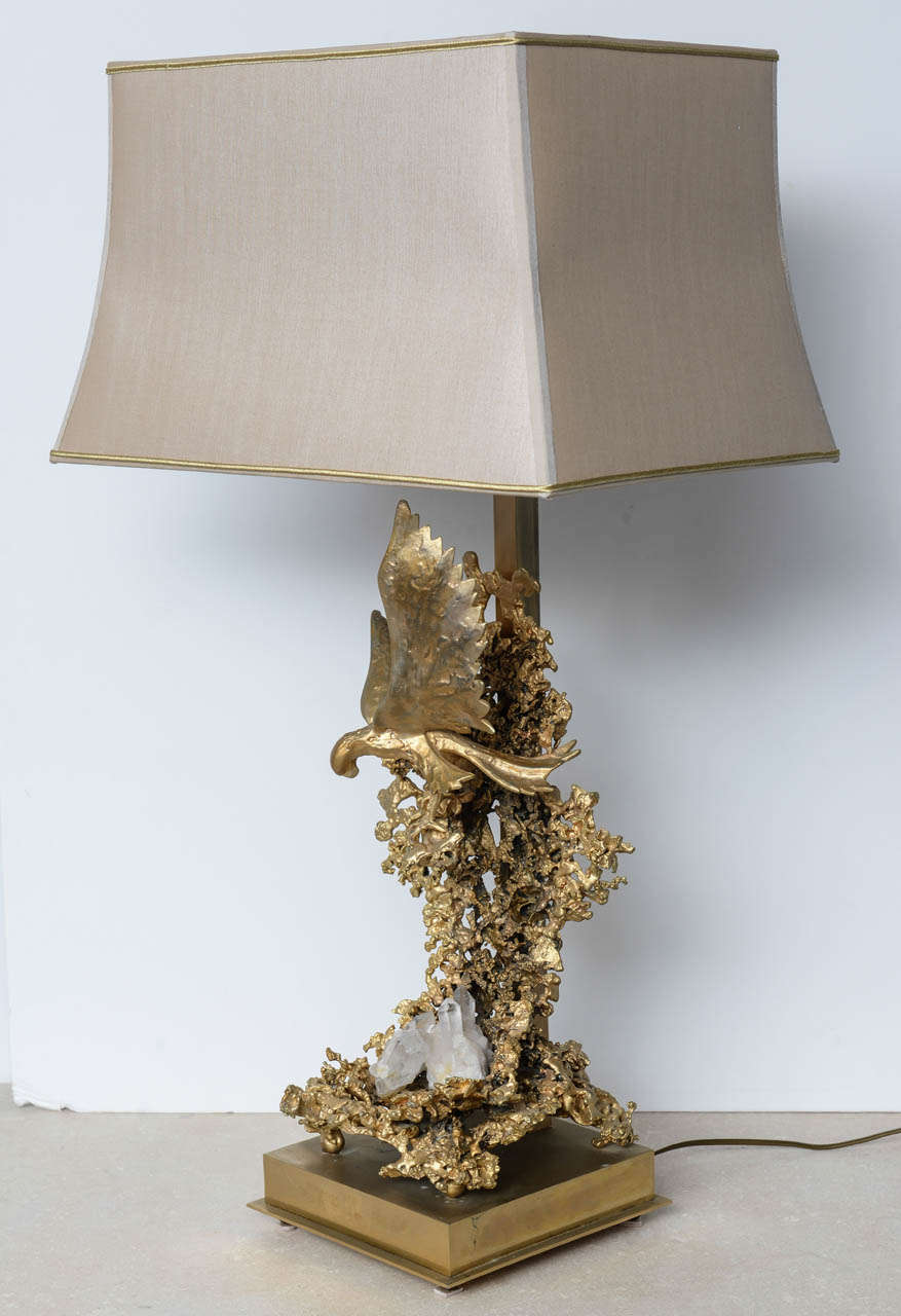 Gilt Claude Victor Boeltz Sculptural Metal Table Lamp and rock cristal inclusion