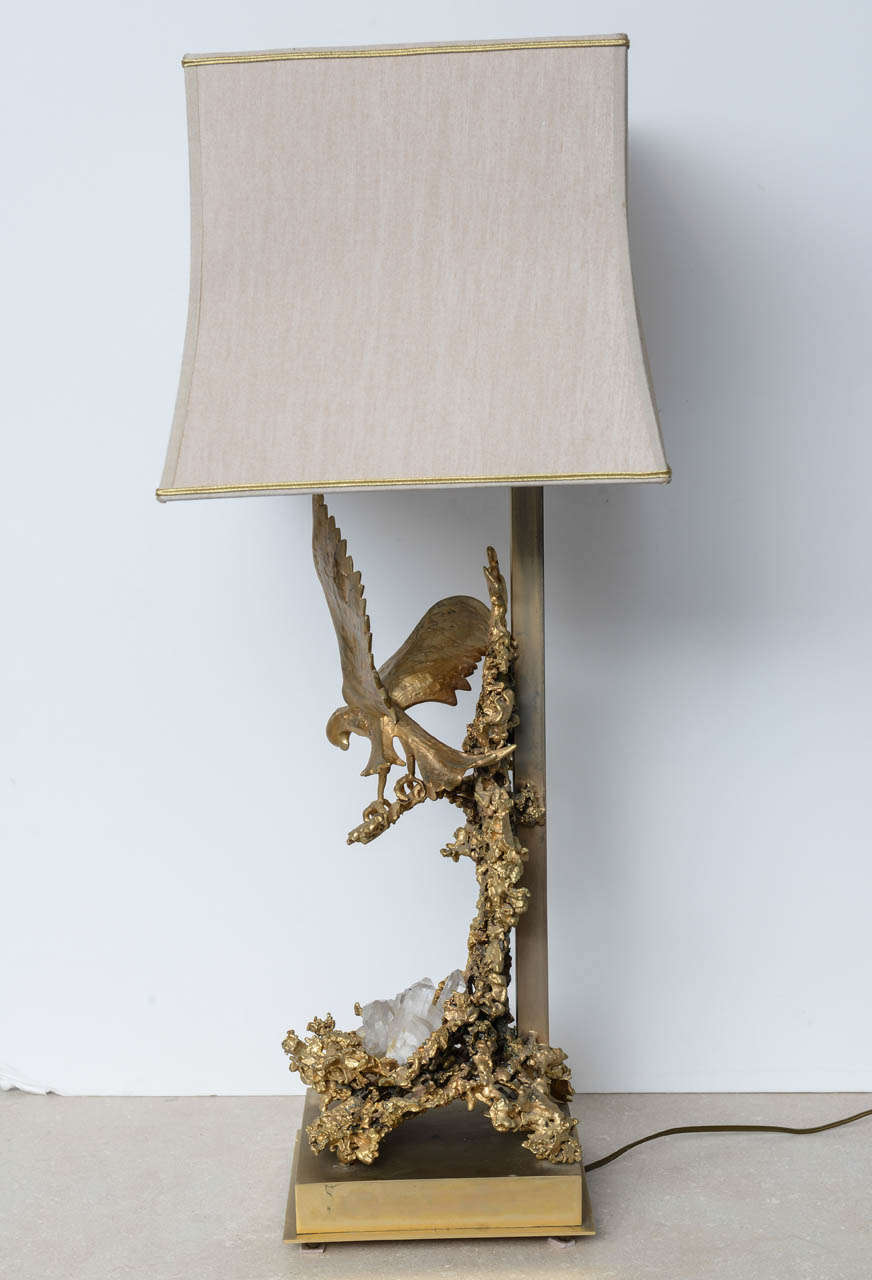 Claude Victor Boeltz Sculptural Metal Table Lamp and rock cristal inclusion In Good Condition In Miami, FL