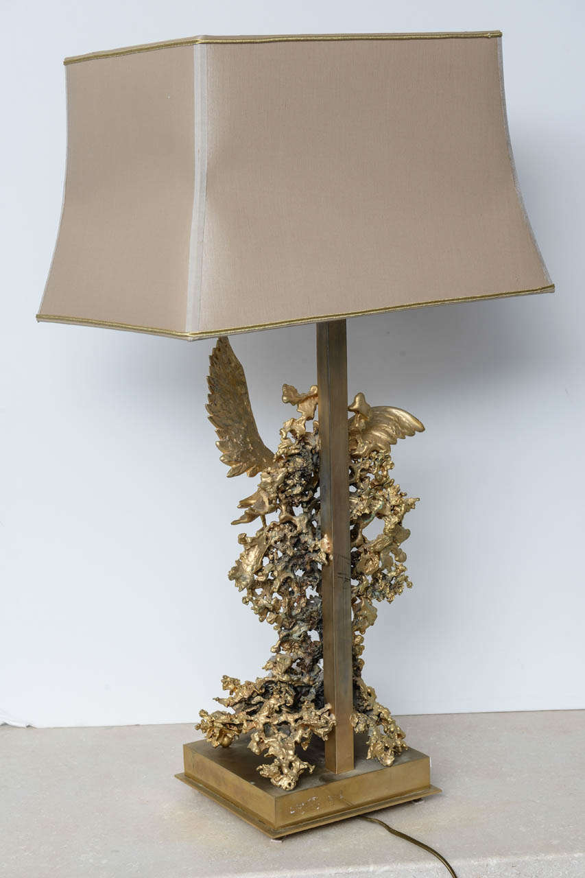 20th Century Claude Victor Boeltz Sculptural Metal Table Lamp and rock cristal inclusion