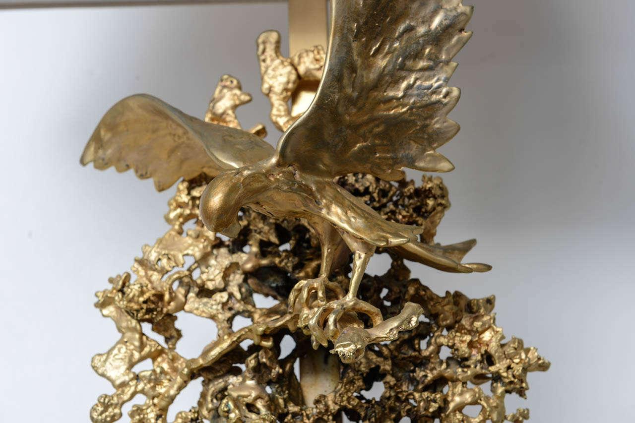 Rock Crystal Claude Victor Boeltz Sculptural Metal Table Lamp and rock cristal inclusion