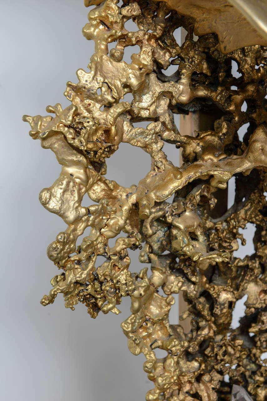 Claude Victor Boeltz Sculptural Metal Table Lamp and rock cristal inclusion 1