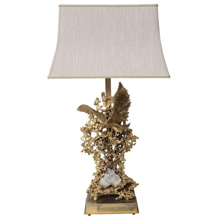Claude Victor Boeltz Sculptural Metal Table Lamp and rock cristal inclusion