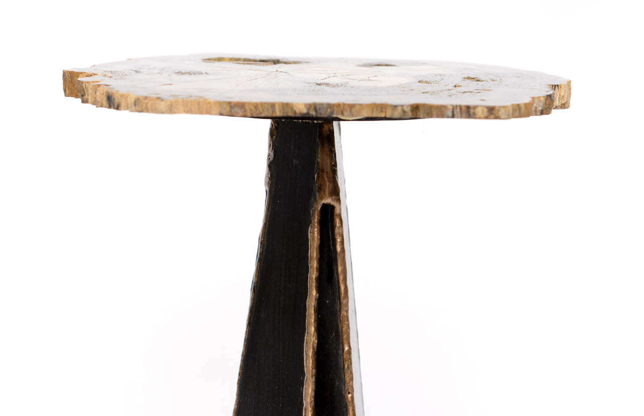Petrified wood and iron drinks side table at 1stdibs for Iron and wood side table