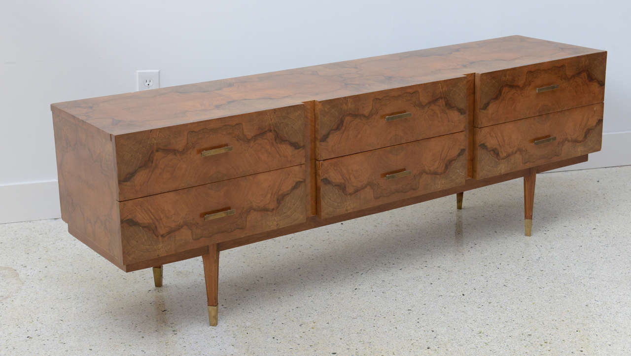 Mid-Century Modern Italian Modern Root Wood Six-Drawer Buffet or Chest of Drawers, Style of Ponti For Sale