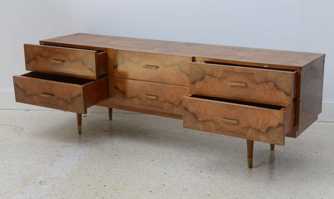 Italian Modern Root Wood Six-Drawer Buffet or Chest of Drawers, Style of Ponti In Excellent Condition For Sale In Miami, FL