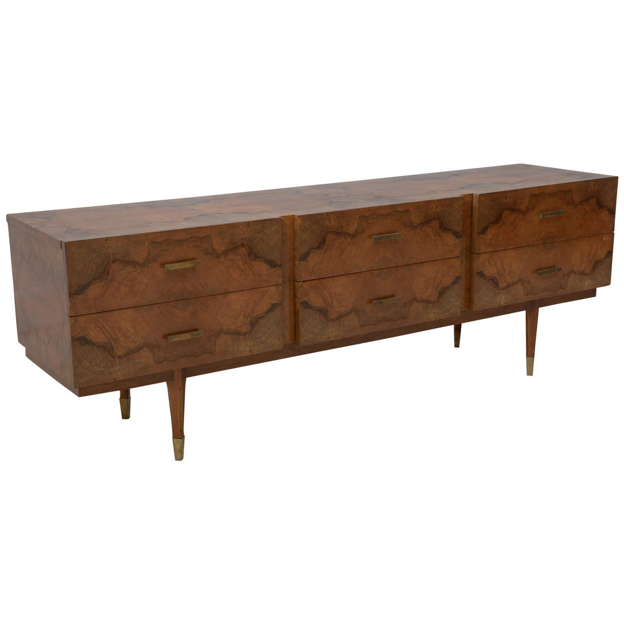 Italian Modern Root Wood Six-Drawer Buffet or Chest of Drawers, Style of Ponti For Sale