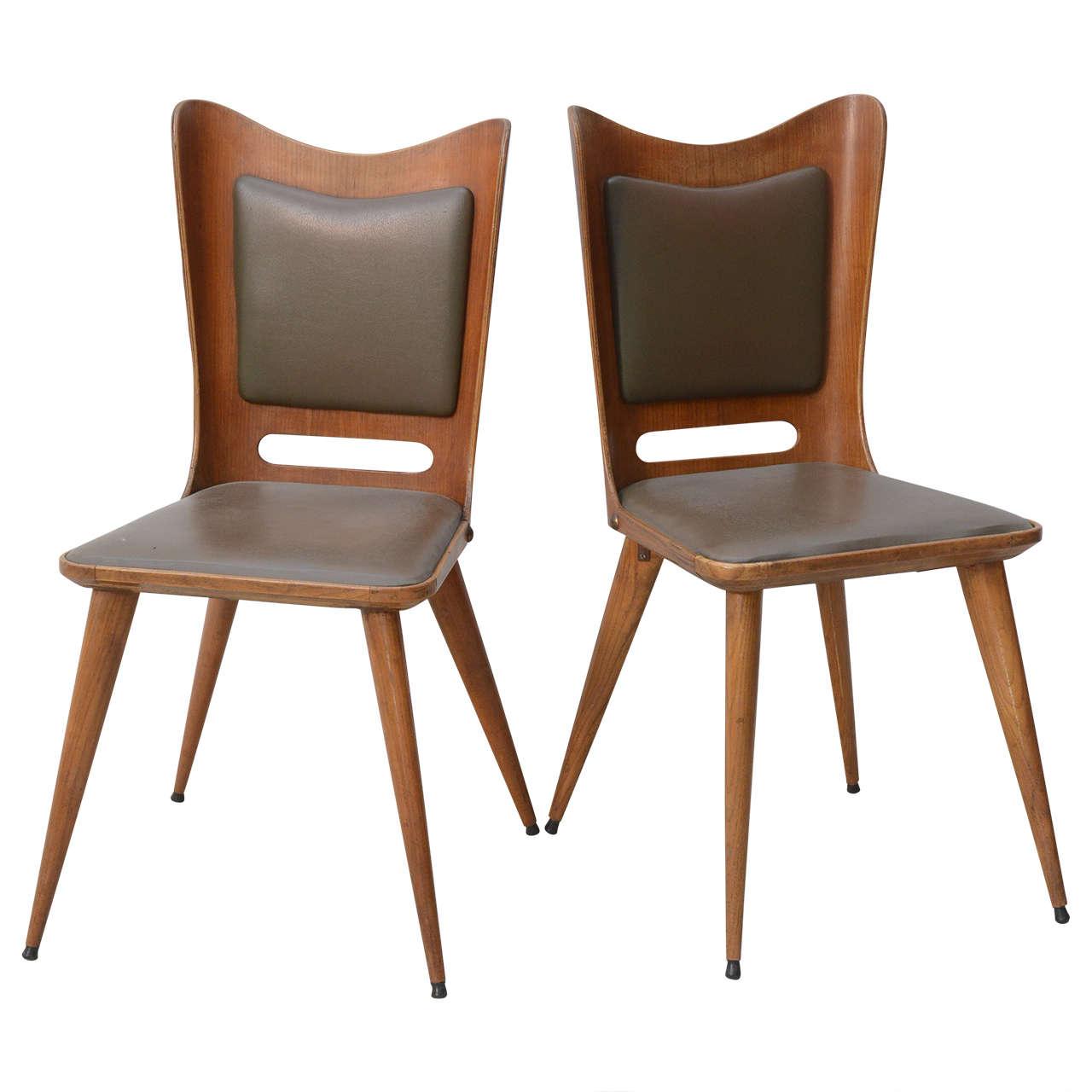 Pair of Italian Modern Walnut Side Chairs, Guglielmo Ulrich