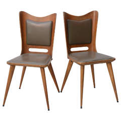 Pair of Italian Modern Walnut Side Chairs, Guglielmo Ulrich