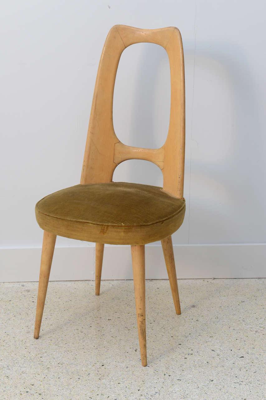 Mid-Century Modern Italian Modern Fruitwood Side/Desk Chair, Guglielmo Ulrich For Sale