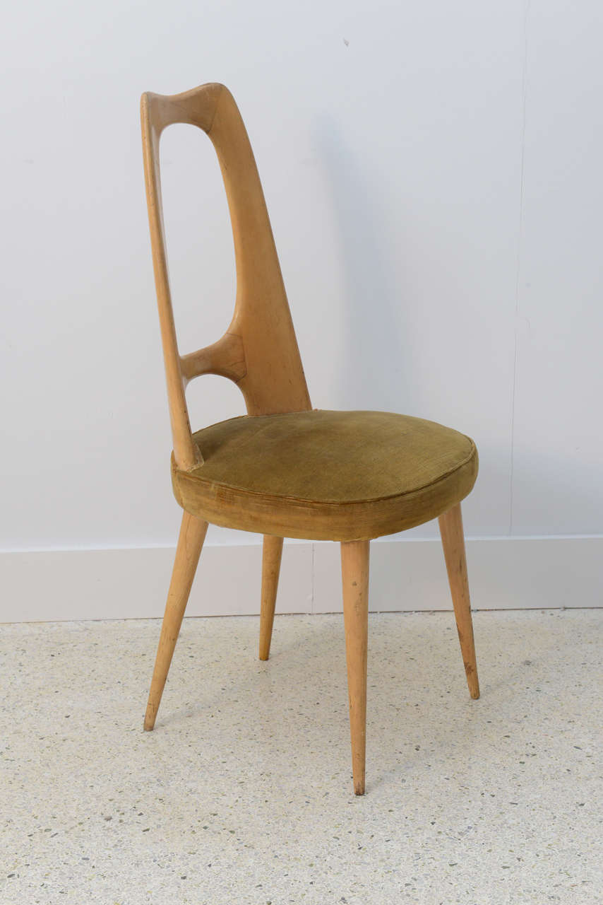 Italian Modern Fruitwood Side/Desk Chair, Guglielmo Ulrich In Excellent Condition For Sale In Miami, FL