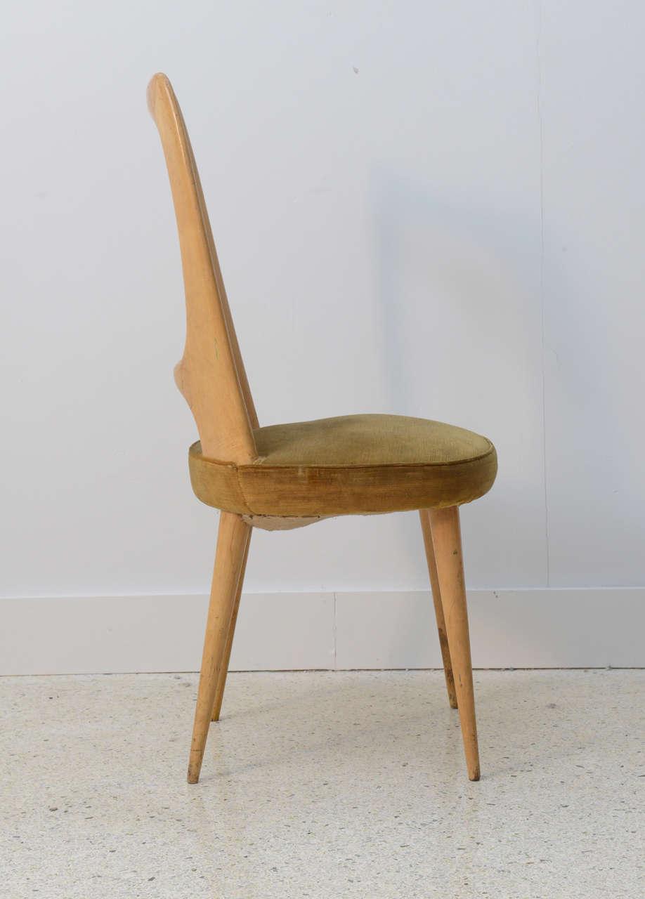 Mid-20th Century Italian Modern Fruitwood Side/Desk Chair, Guglielmo Ulrich For Sale