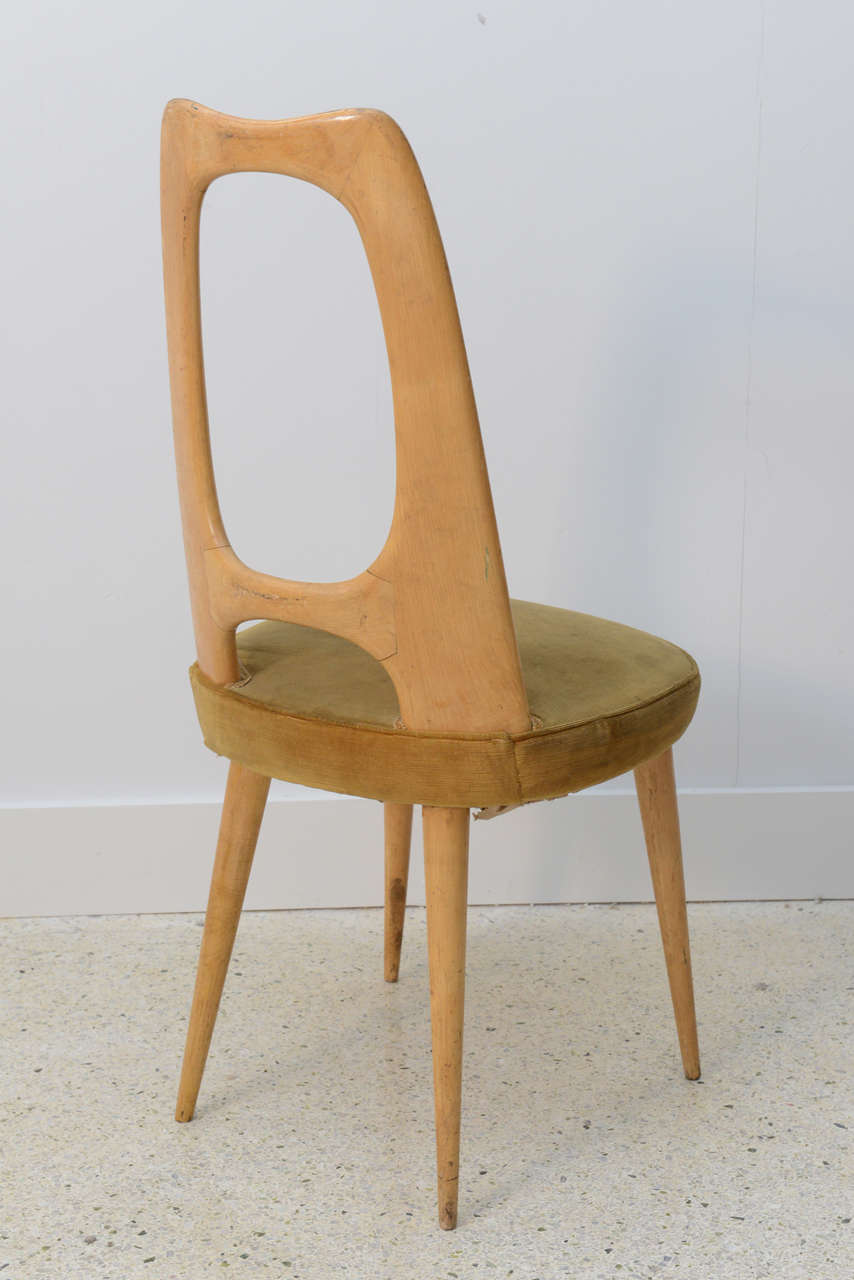 Italian Modern Fruitwood Side/Desk Chair, Guglielmo Ulrich For Sale 1