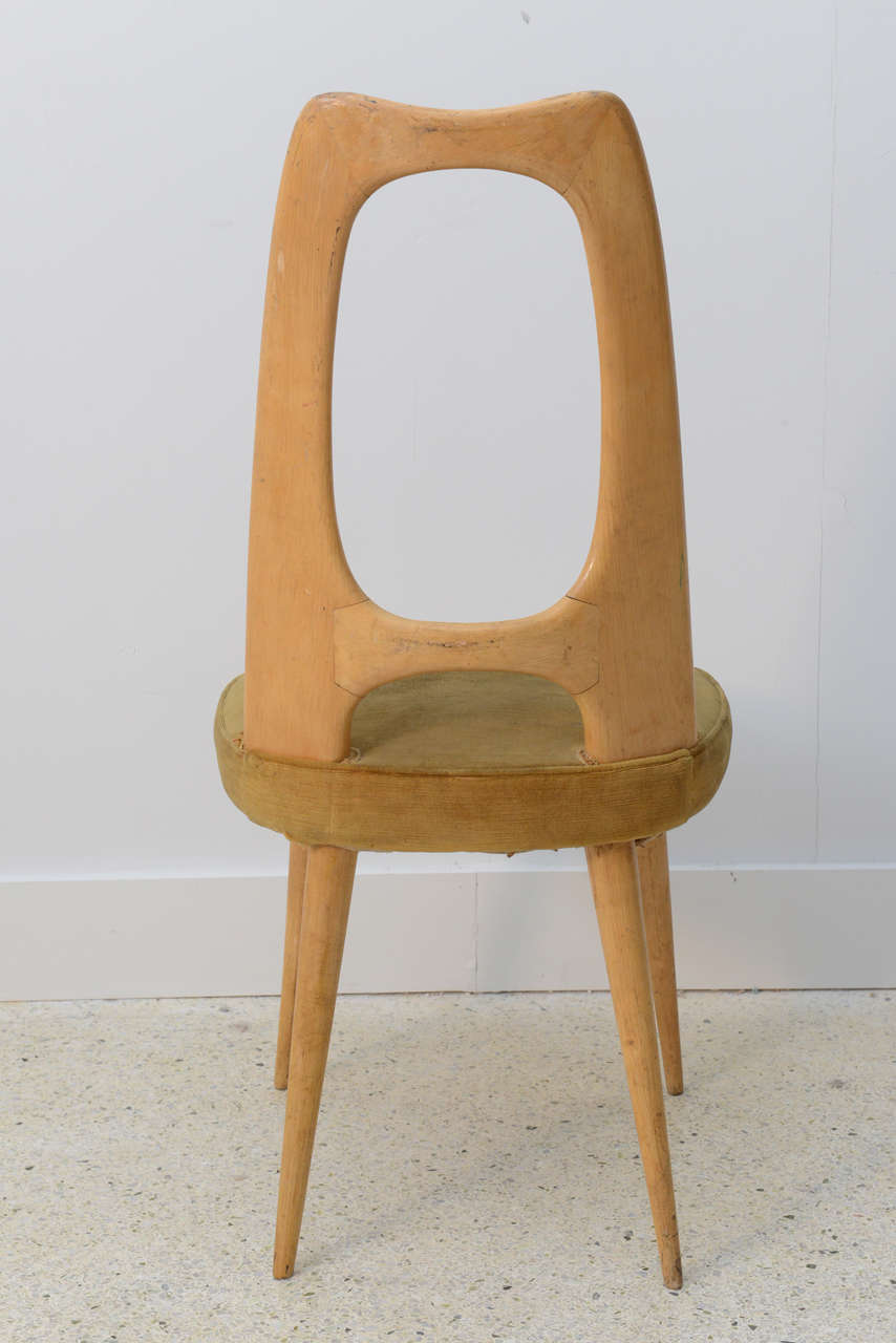 Italian Modern Fruitwood Side/Desk Chair, Guglielmo Ulrich For Sale 2
