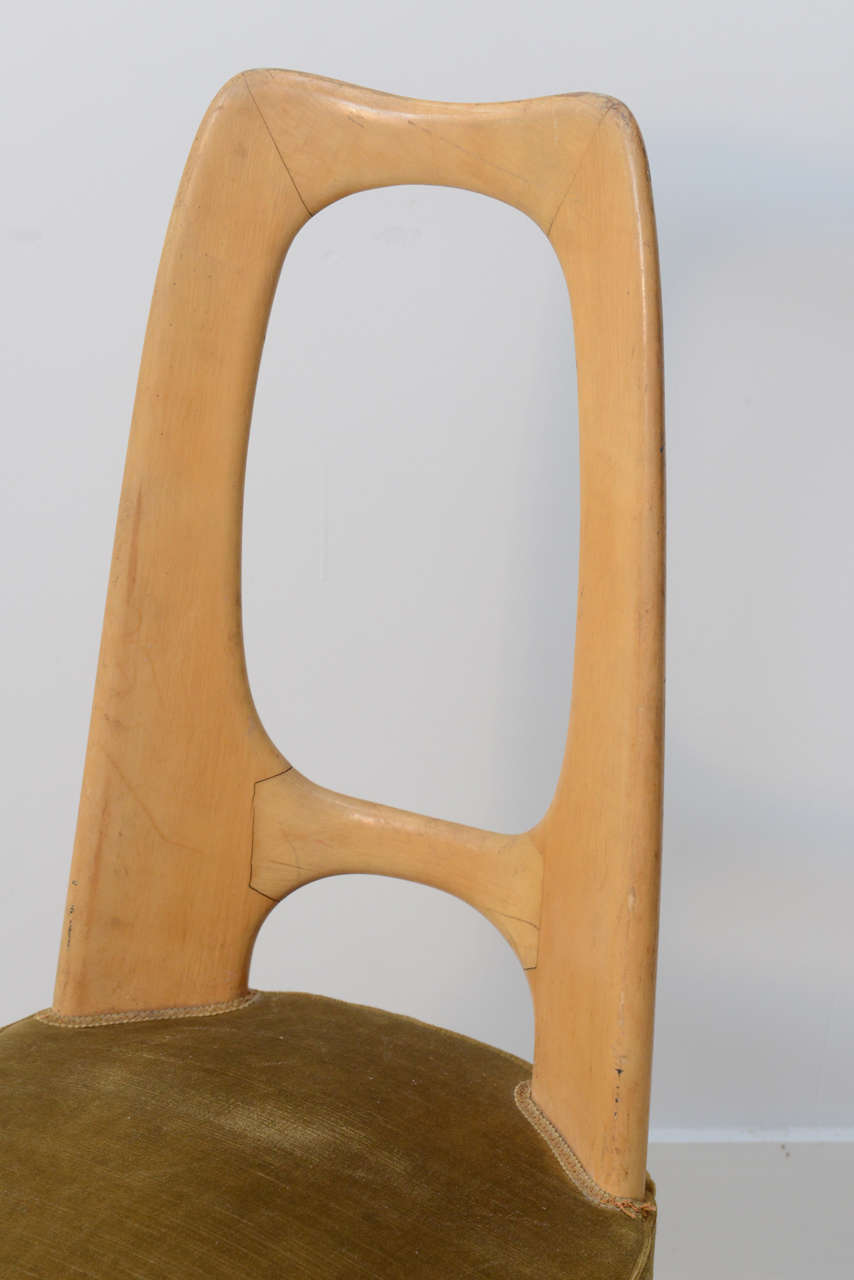 Italian Modern Fruitwood Side/Desk Chair, Guglielmo Ulrich For Sale 3