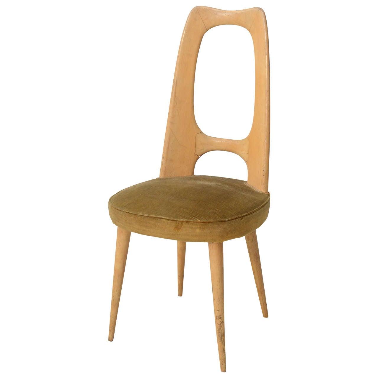 Italian Modern Fruitwood Side/Desk Chair, Guglielmo Ulrich For Sale