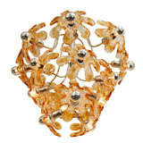 Clear and amber glass flower ceiling fixture by Mazzega