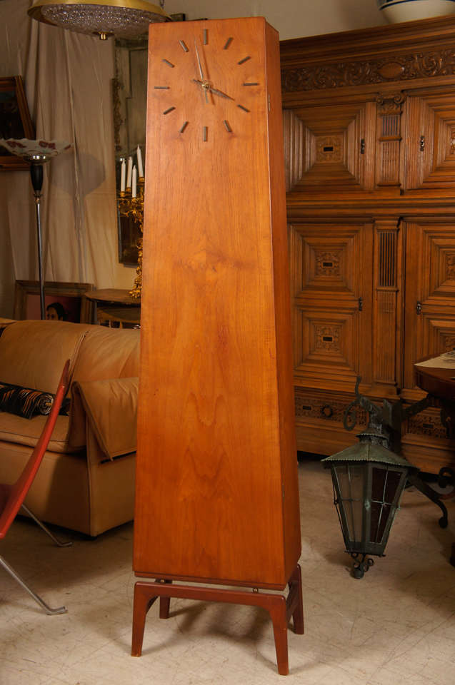 Danish Modern Teakwood Grandfather Clock In Good Condition In Hudson, NY