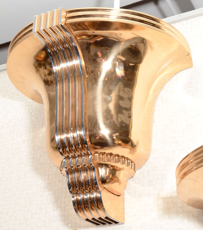 Mid-20th Century Awesome Pair of Art Deco Polished Bronze Sconces For Sale