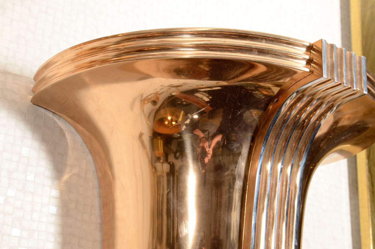 Awesome Pair of Art Deco Polished Bronze Sconces For Sale 2