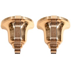 Awesome Pair of Art Deco Polished Bronze Sconces