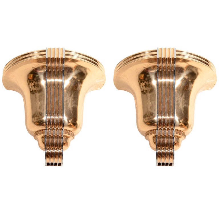Awesome Pair of Art Deco Polished Bronze Sconces For Sale