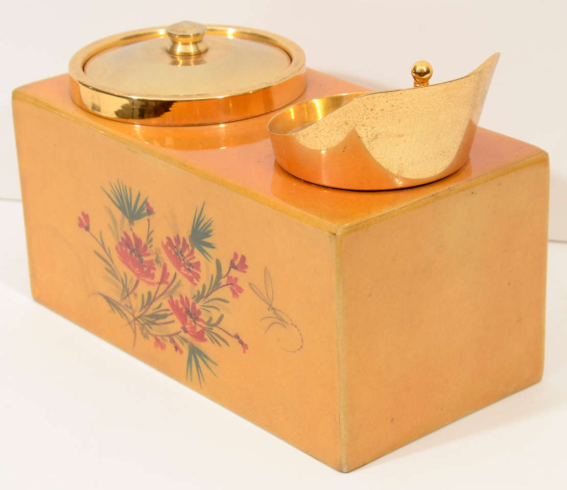 Brass 1950s Aldo Tura Ice Bucket For Sale
