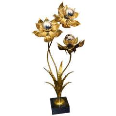 1970s Floral Floor Lamp