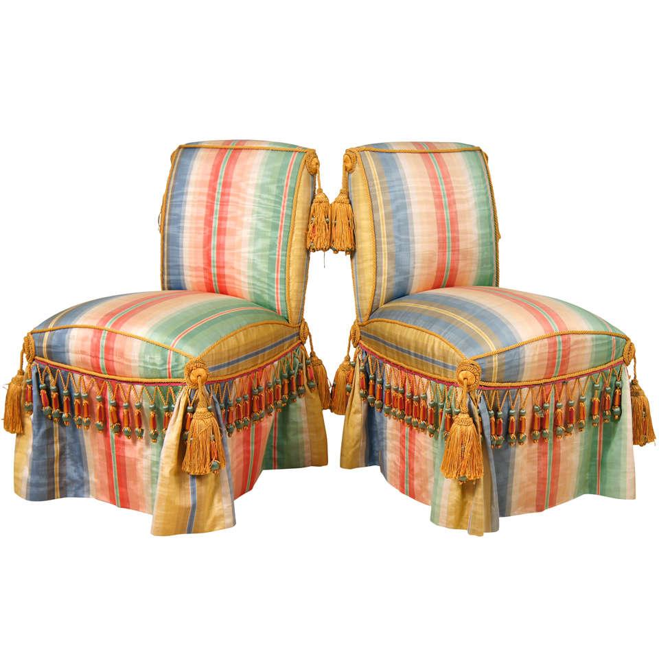 Pair Of Silk Taffeta Upholstered Slipper Chairs For Sale