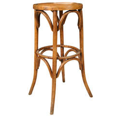 Continental Bentwood Bar Stool with Leather Seat