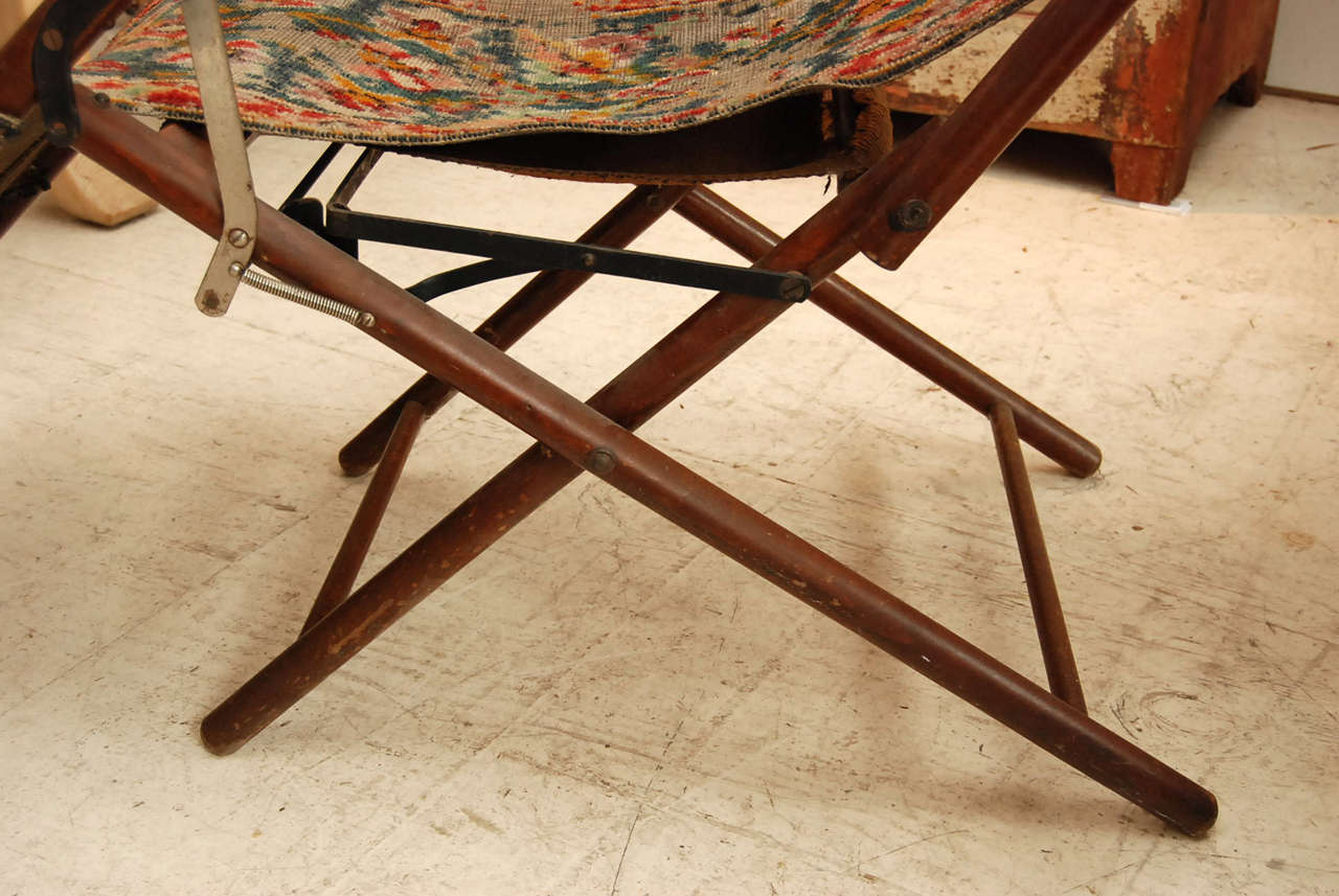 Wood Victorian Reclining Folding Chair For Sale