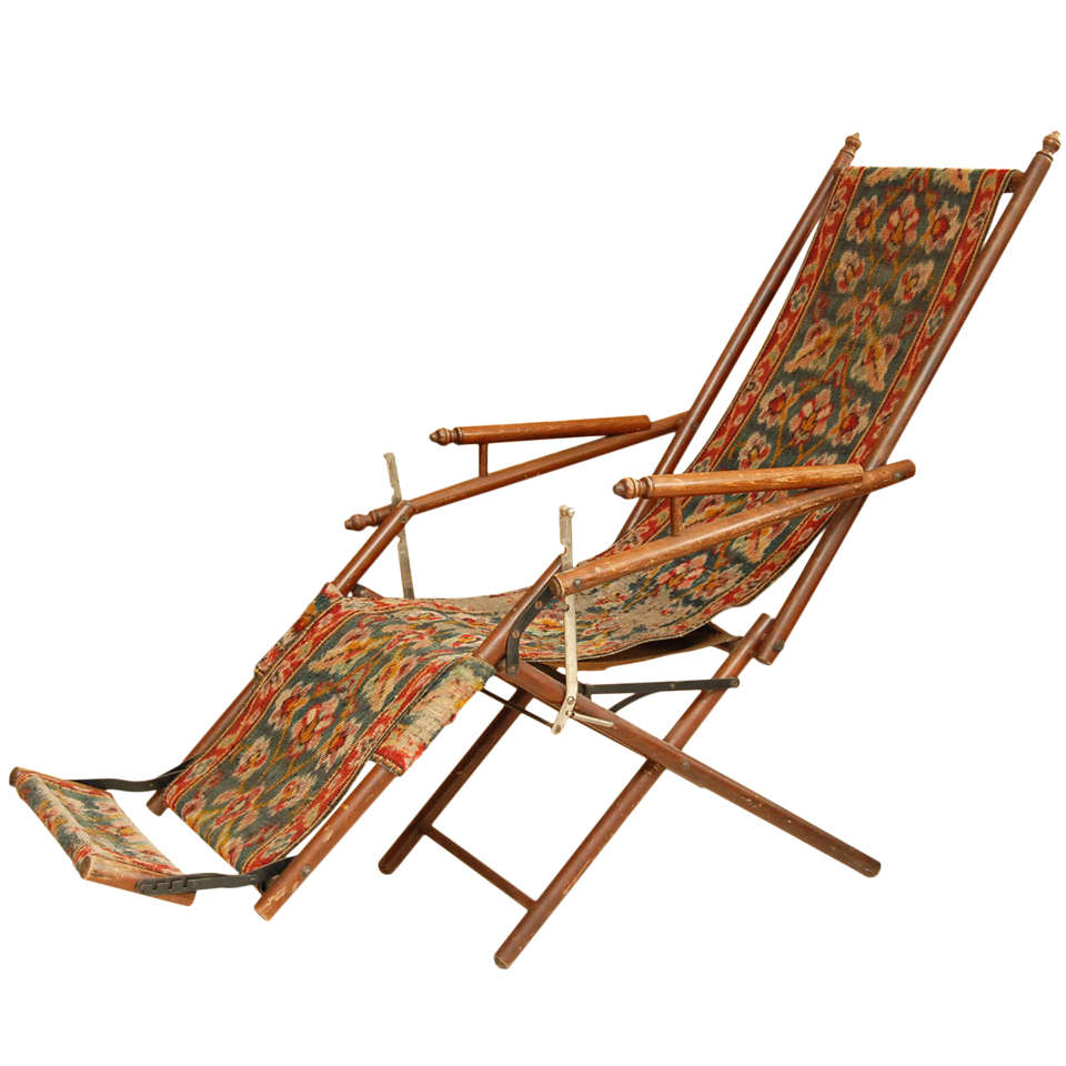 Victorian Reclining Folding Chair For Sale at 1stdibs