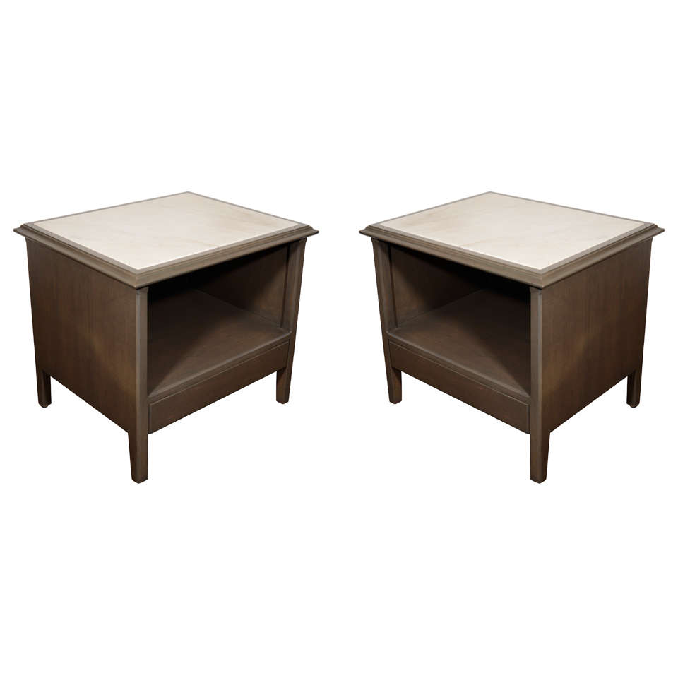 Pair of modernist grey cerused end tables with carrera for Table carrera