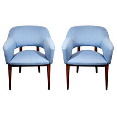 Pair of Modernist Occasional Chairs with Compass Design by Charles Ramos
